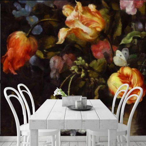 Fototapeta z motywem żółtych tulipanów do kuchni
