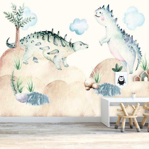 Foto-tapeta z dinozaurami do pokoiku dziecięcego