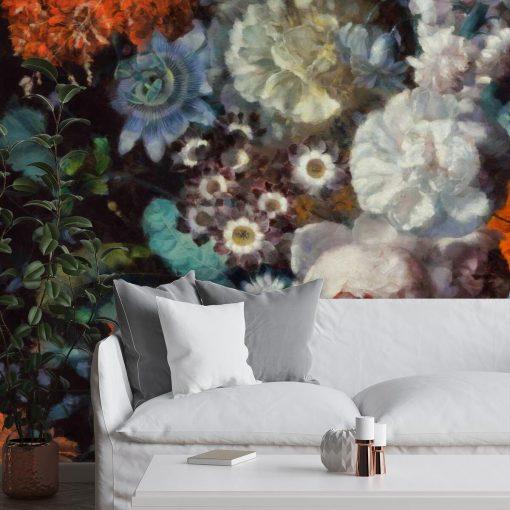 Pastelowa fototapeta - Jesienne kwiaty do sypialni