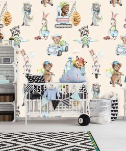 Zwierzątka i baloniki - fototapeta dla dzieci