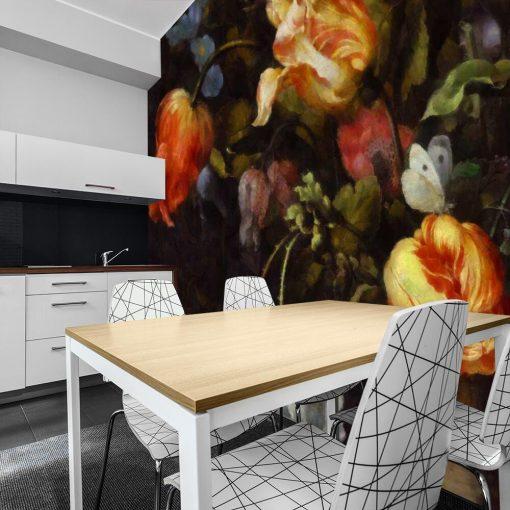 Fototapeta z motywem żółtych tulipanów do jadalni