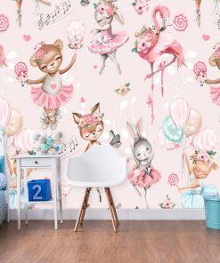 Różowa fototapeta dla niemowląt - Króliczki w tańcu