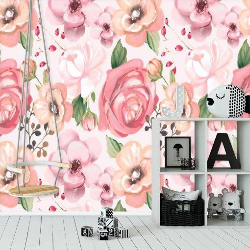 Róże - Różowa fototapeta dla nastolatki
