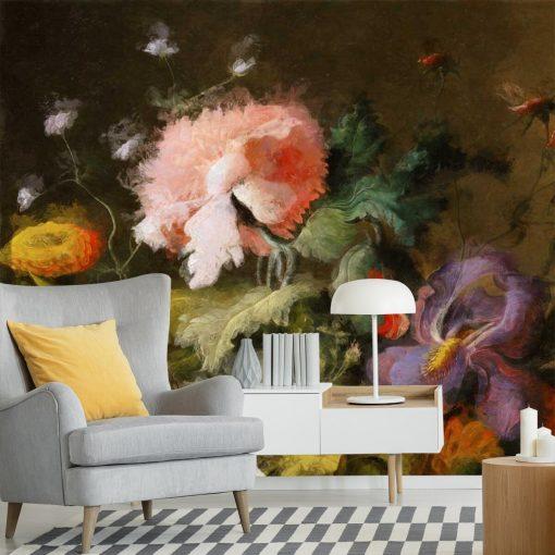 Barwna fototapeta z motywem barwnych kwiatów do dekoracji sypialni