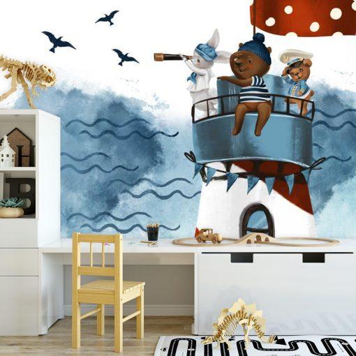 Latarnia Morska i Marynarze - fototapeta dla dzieci