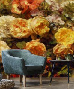 Tapeta z florą do ozdoby salonu