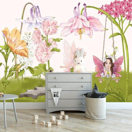 Foto-tapeta z wróżkami wśród kwiatów