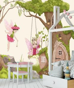 Foto-tapeta domek w drzewie i czarodziejki