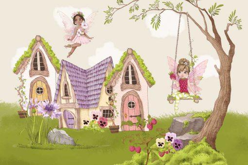 Tapeta domki wróżek i kwiatuszki