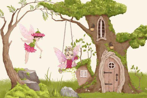 Fototapeta z domkiem w drzewie i wróżkami dla dziewczynki