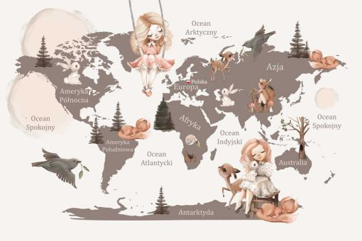Foto-tapeta z motywem mapy świata i zwierząt
