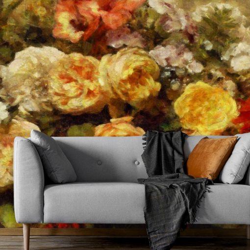 Tapeta do salonu z różyczkami