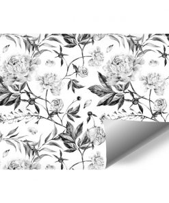 Szara fototapeta z motywem kwiatowym do ozdoby salonu