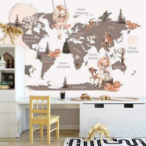 Fototapeta z sarenkami i kontynentami