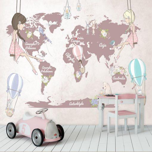 Foto-tapeta dla dzieci z kontynentami