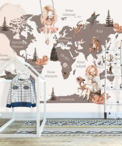 Tapeta z zajączkami i kontynentami