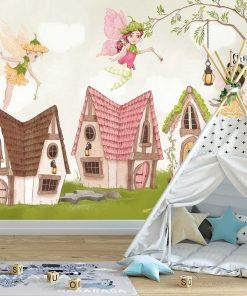 Foto-tapeta z domkami wróżek leśnych