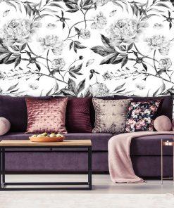 Tapeta z szarymi kwiatkami do ozdoby salonu