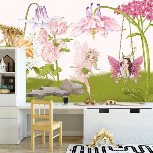 Tapeta z rusałkami i kwiatami