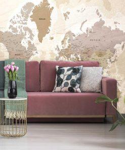 Fototapeta do sypialni z mapą geograficzną świata