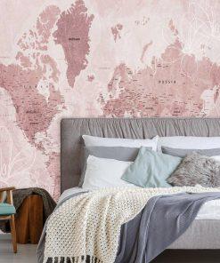 Różowa fototapeta z motywem mapy