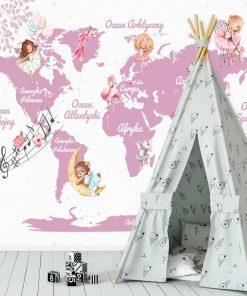 Fototapeta różowa mapa świata