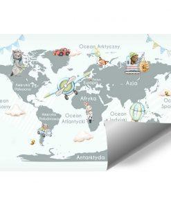 Fototapeta dla dzieci - zwierzątka na mapie