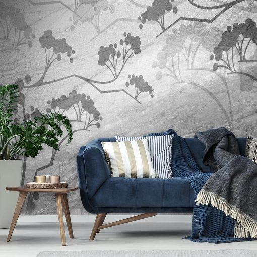 szare gałęzie na tapecie do upiększenia ściany w salonie