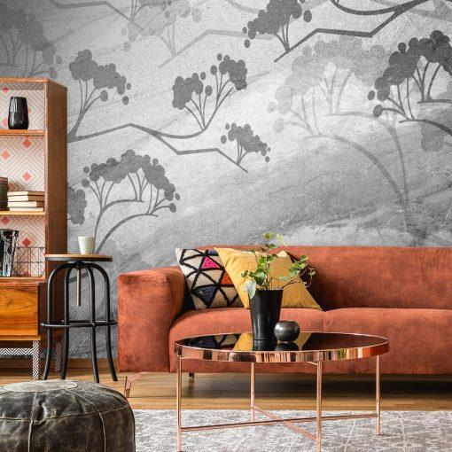 Foto-tapeta do upiększenia salonu z szarym motywem roślinnym