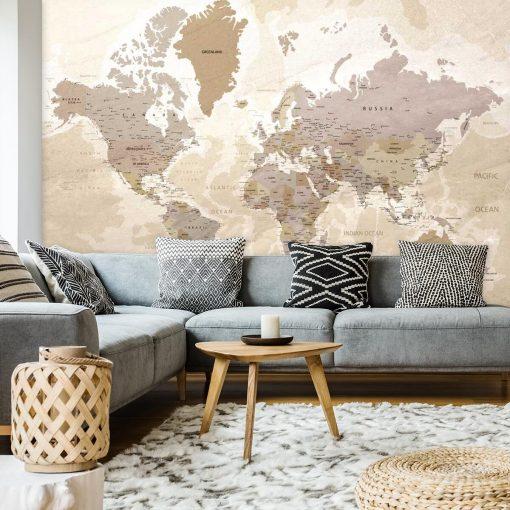 Fototapeta z mapą świata do ozdoby salonu