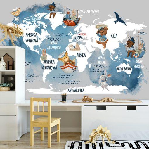 Błękitna foto-tapeta dla dzieci z mapą