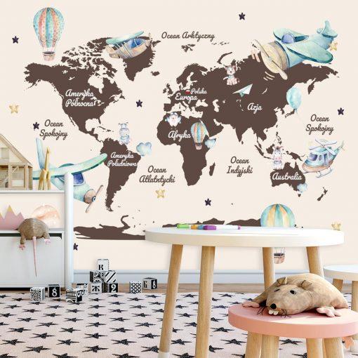 Fototapeta dla dziecka z kontynentami