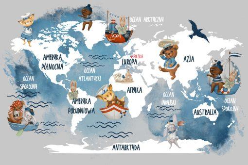 Fototapeta dla dziecka z mapą świata