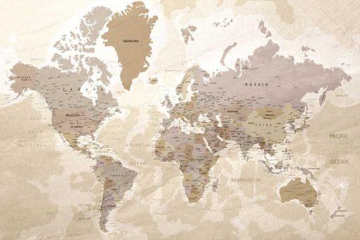 Tapeta mapa z państwami i miastami