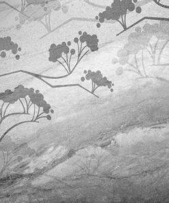 Tapeta i gałęzie na tle szarego betonu