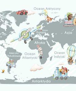 Szara fototapeta z mapą świata i zwierzątkami dla dzieci
