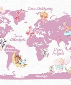 Foto-tapeta w różu z mapą świata i zwierzątkami