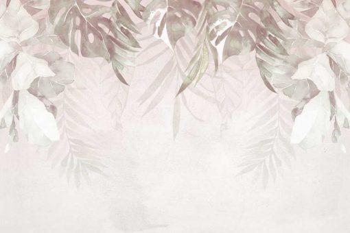 Tapeta z motywem liści do upiększenia salonu