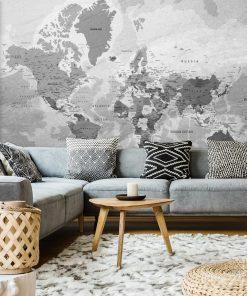 Foto-tapeta w szarościach z motywem mapy świata