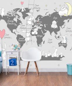 Foto-tapeta dla dziecka z bajkowa mapą świata