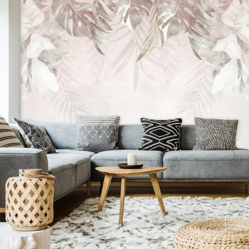 Foto-tapeta zwisające liście w pastelowym kolorze