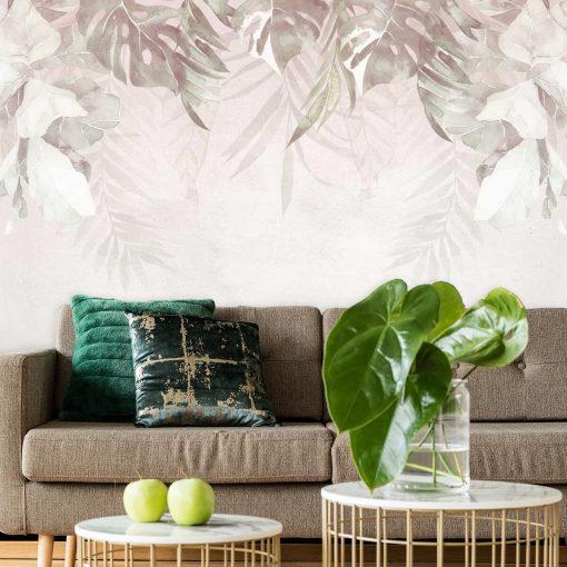 Botaniczna tapeta w beżowym kolorze