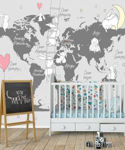 Foto-tapeta do pokoju dziecinnego z mapą świata