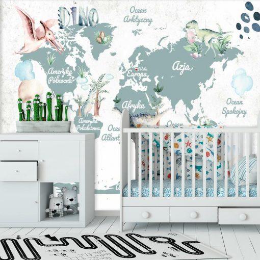 Foto-tapeta dla dziecka z mapą świata