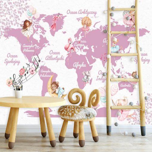 Tapeta z motywem mapy świata w różowym kolorze