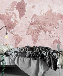 Foto-tapeta polityczna mapa świata w różowym kolorze