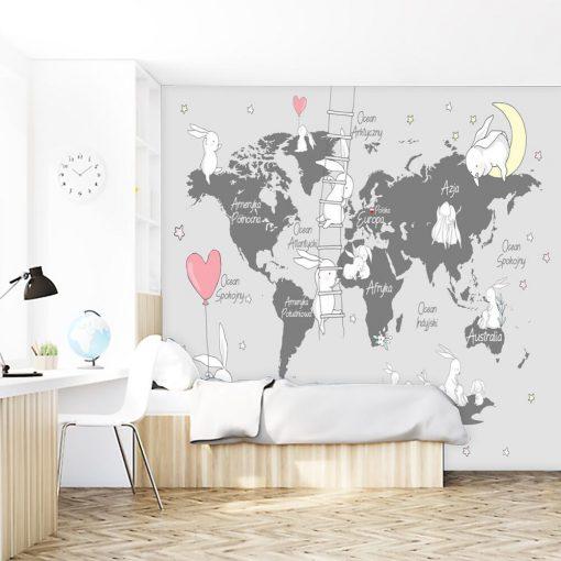 Tapeta do przedszkola z mapą świata i króliczkami