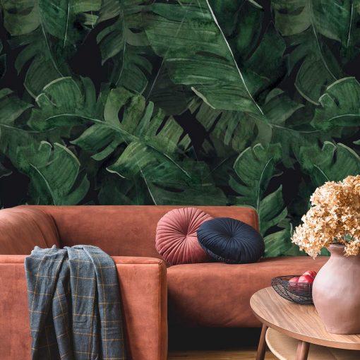 Tapeta z motywem botanicznym w kolorze zielonym
