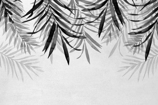 Tapeta z szarymi palmowymi gałązkami