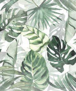 Tapeta do sypialni z zielonymi tropikalnymi roślinami